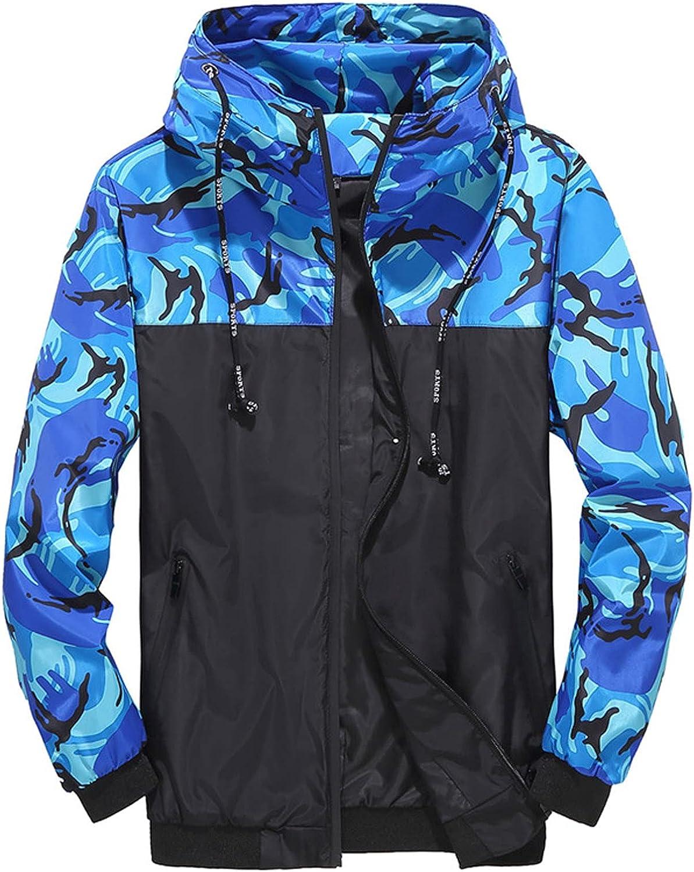 XXBR Camo Jackets for Mens, Fall Zipper Camouflage Patchwork Drawstring Hooded Sweatshirts Lightweight Windbreaker