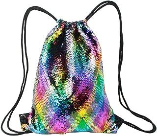 Mermaid Sequin Drawstring Bags, Reversible Flip Sequin Gym Dance Backpacks Magic Glittering School Student Shoulder Bags for Kids Girls Boy Women