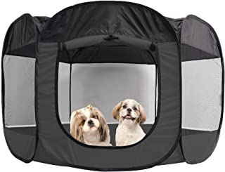 Furhaven Pet Playpen   Indoor/Outdoor Mesh Open-Air Playpen & Exercise Pen Tent House Playground for Dogs & Cats, Gray, Ex...