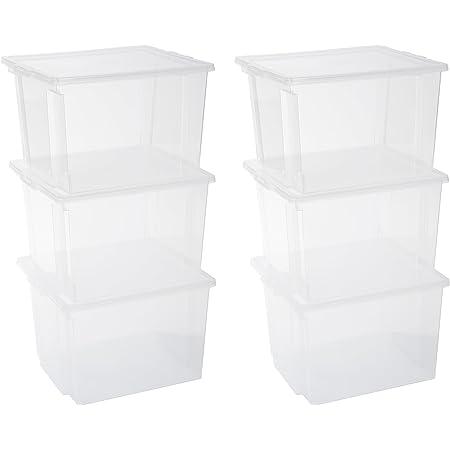 Iris Ohyama, Lot de 6 Boîtes de Rangement, 40 L, avec Couvercle, Empilable, Garage, Chambre, Salon - Useful Storage Box Usb-Mp - Transparent