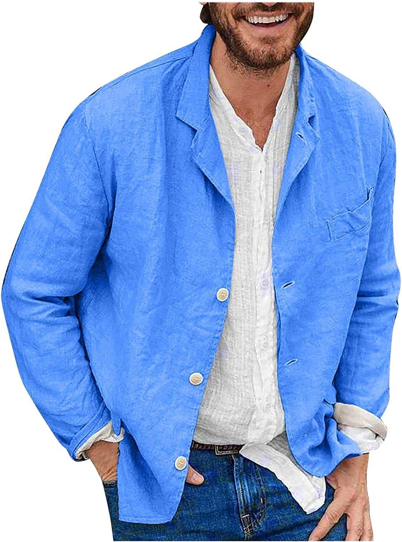 Men's Linen Blazer Suit Jacket 3 Buttons Lightweight Casual Party Jacket Slim Fit Sport Coats with Pockets