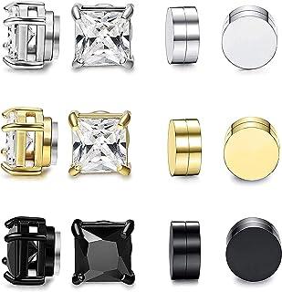 YADOCA 6 Paires Acier Inoxydable Boucles doreilles Magn/étique pour Homme Femme Carr/é Ronde Boucles doreilles Clip Non-Piercing Diamant Zirconium 6-10MM