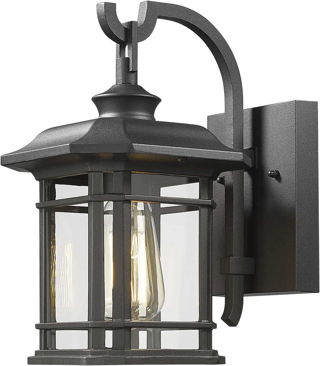 Eapudun Outdoor Wall Mount Light | Modern Exterior Porch Lantern Light Fixture, Matte Black Die-cast Aluminum Finish with Clear Glass, WLA1300-MBK