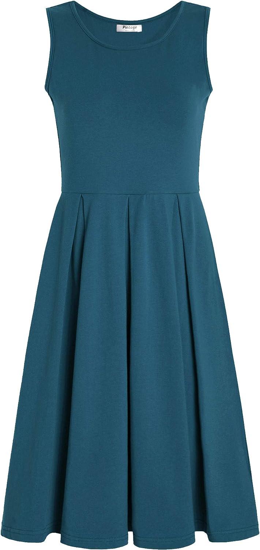 PintageWomen's Sleeveless Pleated Swing Casual Dress