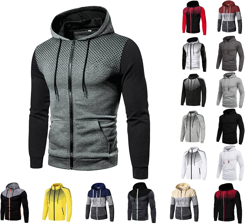 Men's Long Sleeve Sweatshirts Hoodies Zip Up Hooded Sweatshirts Casual Loose Pullover Jumpers with Pockets