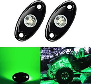 2 Pods LED Rock Lights, Ampper Waterproof LED Neon Underglow Light for Car Truck ATV UTV SUV Jeep Offroad Boat Underbody Glow Trail Rig Lamp (Green)