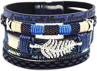 Bracelet Double Tour Feutrine Bande Ecailles Croco et Strass Bleu BC1582F