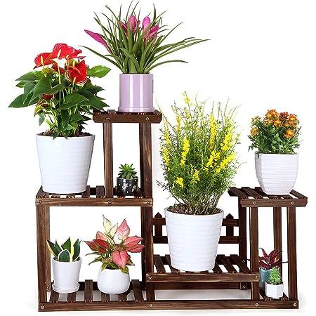 FOLDIFY Pine Wood Plant Stand Indoor Outdoor Multiple Flower Pot Holder Shelf Rack Higher and Lower Planter Display Shelving Unit in Garden Balcony Patio Corner Living Room(7-9 Flowerpots)