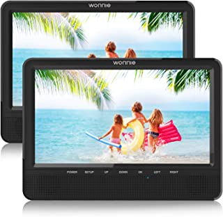 WONNIE 10'' Dual Car DVD Player Portable for Trip Travel Built-in 5 Hours Rechargeable Battery, Last Memory&USB&SD Slot(1 ...