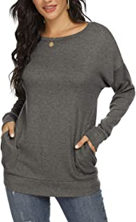 Womens Crewneck T-Shirt Casual Loose Shirts Long Sleeve...