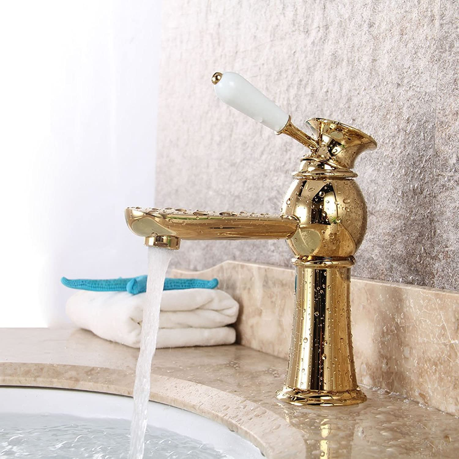 Hlluya Professional Sink Mixer Tap Kitchen Faucet All copper single handle single hole bathroom basin mixer,gold