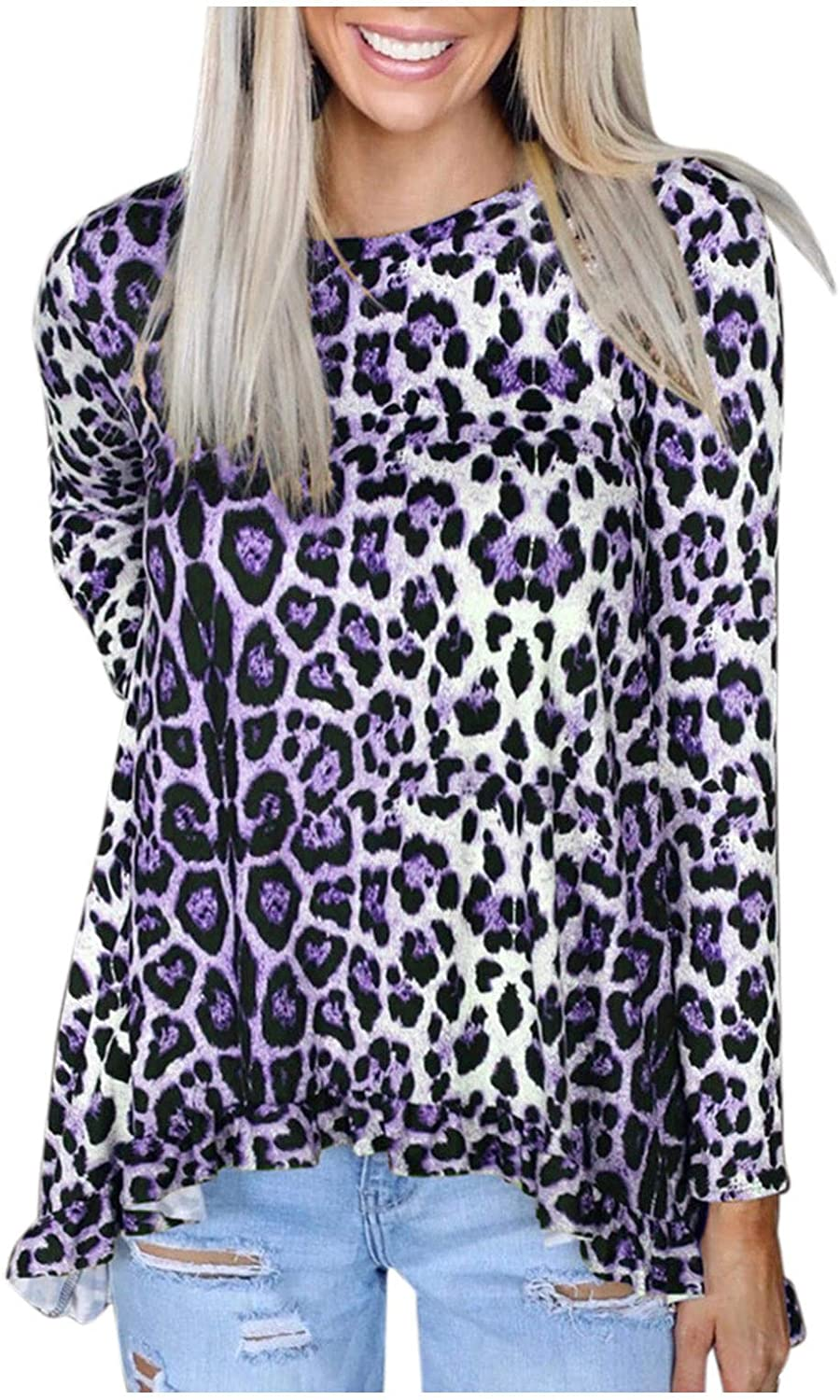 ameIAEA Women's Leopard Print Long Sleeve Turtleneck Round Neck Super beauty 2021new shipping free shipping product restock quality top