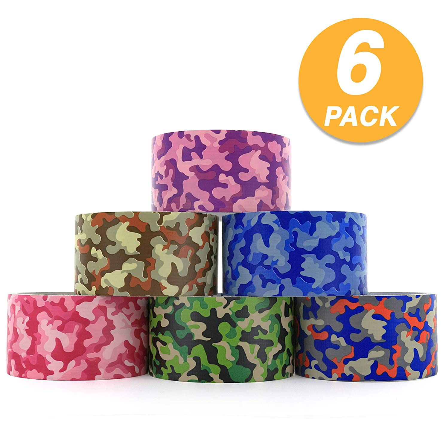 RAM-PRO Camouflage Series Heavy-Duty Duct Tape   Assorted Colors Pack of 6 Rolls, 1.88-inch x 5 Yard – Colors Included: Blue/Orange/Green, Brown/Grey, Green, Blue, Purple, Pink.