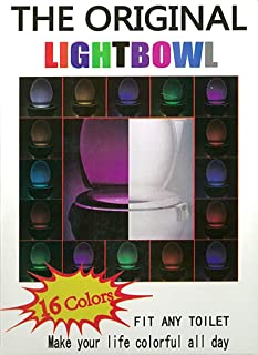 Outwater Industries The Potty Party Rainbow LED Light for Toilet Bowl. 16 Colors. Motion Sensor. Great for Potty Training and Nightlight. Fits Any Toilet. Water Resistant LED-WB-16