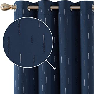 Deconovo Line Foil Print Striped Blackout Curtains Thermal Insulated Window Treatment Grommet Curtain for Living Room 2 Panels Navy Blue 52x63 Inch