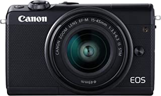 Canon EOS M100 Single Kit with EF-M 15-45mm IS STM Compact System Camera(M100KISB) 3 Inch Display,Black (Australian warranty)