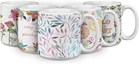 Watercolor Leaves 20 OZ. Oversized Ceramic Coffee Mug