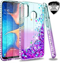 LeYi Cover Galaxy A20e Glitter Custodia con Vetro Temperato [2 Pack],Brillantini Diamond Silicone Sabbie Mobili Bumper Case per Custodie Samsung Galaxy A20e ZX Turquoise Purple Gradient