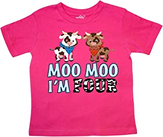 inktastic Moo Moo I'm 4 with Cute Holstein Cows Toddler T-Shirt