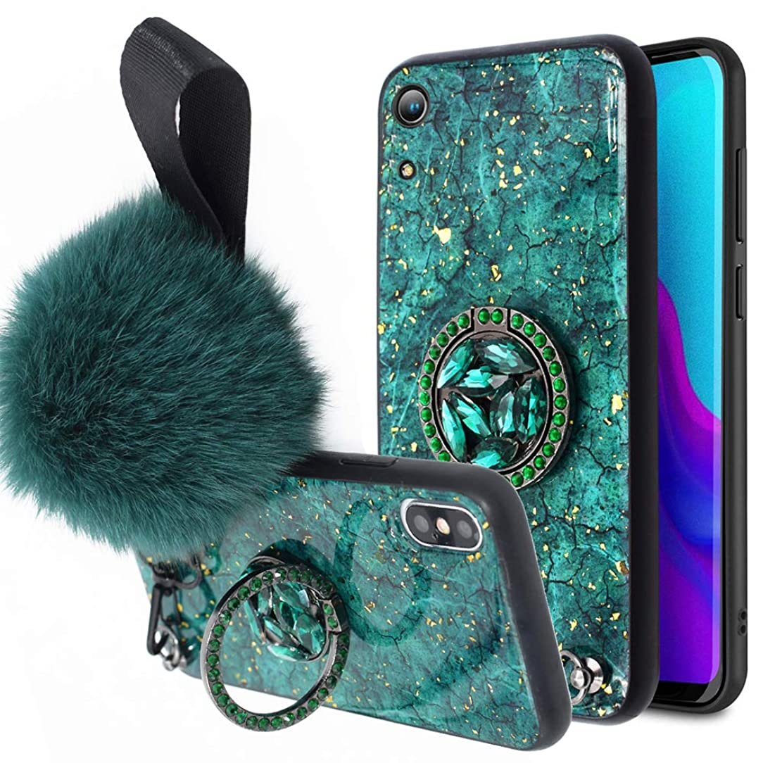 BestAlice for Huawei Honor 8A / Play 8A / Y6 2019 Case, Luxury Bling Glitter Crystal Kickstand Fur Ball Wrist Holder Strap with Marble Pattern Soft Rubber Bumper Shockproof Cover for Girls,Green