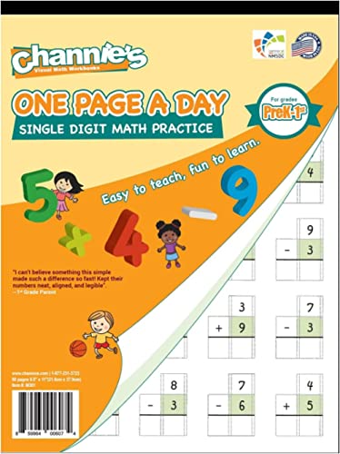 Channie's One Page A Day Single Digit Math Problem Workbook for Prek-1st 50 pages simply tear off one page a day for ...