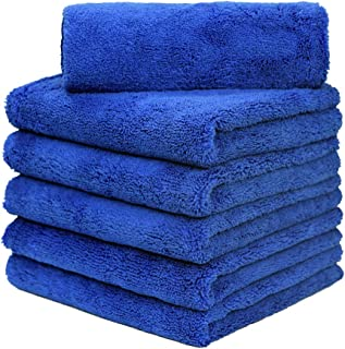 CARCAREZ Professional Grade Microfiber Car Wash Drying Towel, 16 in.x 24 in. Blue, Pack of 6