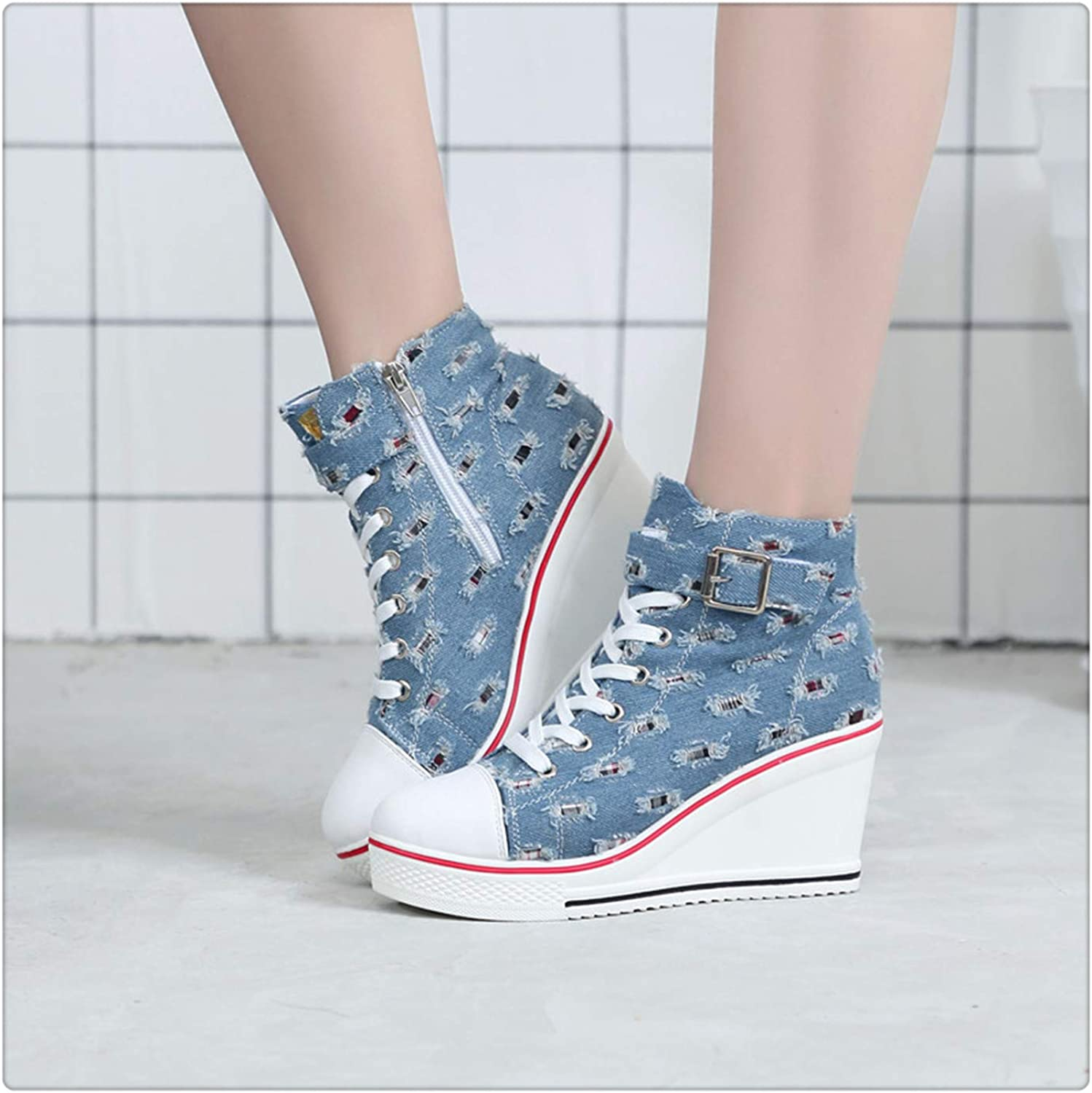 NNHLPO& Platform shoes Women Canvas shoes Casual Denim Trainers High Heel for Walking