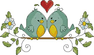 "eGoodn Cross Stitch Stamped Kit Pre-Printed Pattern Love Birds, 11CT Aida Fabric Size 14.6"" x 8.7"