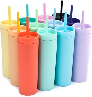 SKINNY TUMBLERS (12 pack) Matte Pastel Colored Acrylic Tumblers with Lids and Straws | Skinny, 16oz Double Wall Plastic Tu...