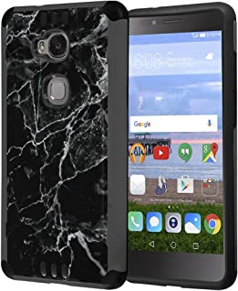 Huawei Sensa Case, Honor 5X Case, Capsule-Case Hybrid Silm Defender Armor Combat Case (Dark Grey & Black) Brush Texture Finishing for Huawei Sensa 4G LTE / Honor5X - (Black Marble Print)