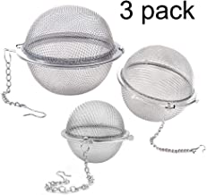 Lyxa SR 3 Pack Piece Set Stainless Steel Mesh Tea Ball Tea Infuser Strainers Tea Strainer Filters Tea Interval Diffuser for Tea (3 Pack Different Sizes)