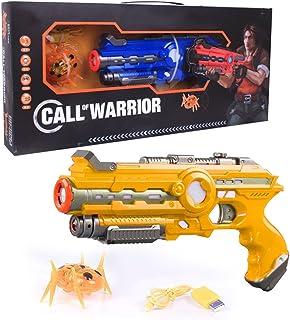 動き回るビートルを倒せ 対ビートル 赤外線銃 セット サウンド&バイブレーションがリアルでスリリングな対戦を演出 CALL OF WARRIOR 的当て (イエロー)