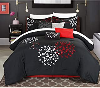 OS 12 Piece Queen Dark Red Comforter Set, French Country, Flower Embroidery, Burgundy Black, Damask Paisley Medallion Hippie Bohemian Kashmir Boho Chic Indie Sleek Fashion Classic