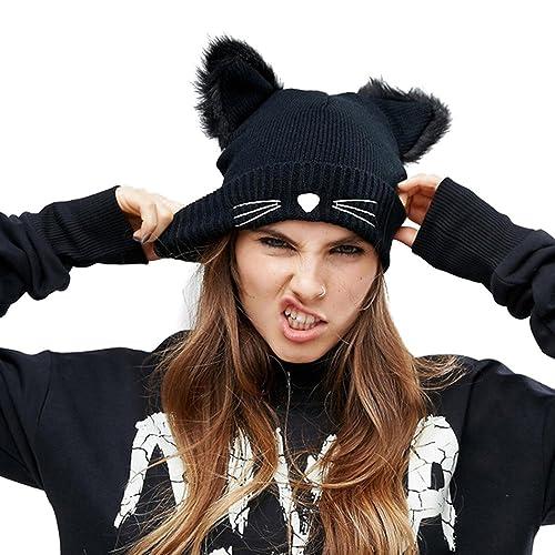 aa7e8ebd4ff EVRFELAN Cat Ears Hats Embroidered Warm Knit Crochet Beanies Wool Cute  Fashion Skull Cap for Women