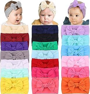 20PCS Baby Girls Hair Bows Headbands Nylon Hairbands Turban Knotted Elastics Hair Accessories for Baby Girls Newborn Infan...