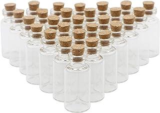 JIUWU 40 Pack 3ml Mini Clear Cork Stoppers Glass Bottles Wishing Message Small Jars DIY Art Crafts Decoration Drifting Via...