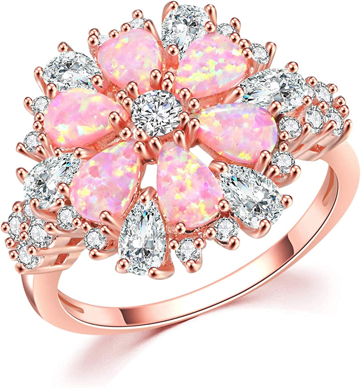 CiNily Opal Ring-14K Rose Gold Plated Pink Opal Cubic Zirconia CZ Ring Gemstone Ring for Women Size 5-12