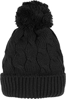 Knitted Twisted Cable Bobble Pom Beanie Hat Slouchy AC5474