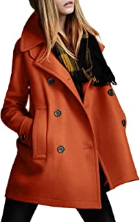 1bebded20d8 JOKHOO Womens Casual Slim Double-Breasted Lapel Solid Peacoat Trench Coat