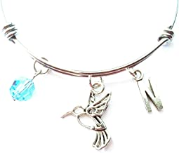 Hummingbird Themed Personalized Bangle Bracelet