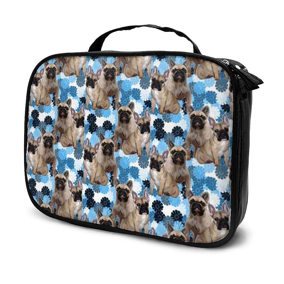 著名な講義モール収納袋フレンチブルドッグ犬化粧品袋耐摩耗性軽量ポータブル高品質大容量旅行ポーチバスルームポーチ旅行小物整理約8×25×19cm