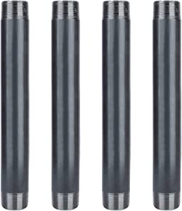 Pipe Décor 1 1/4 in. x 12 in. Black Steel Pipe, Pre-Cut, Industrial Steel Grey Fits Standard 1 1/4 Inch Black Threaded Pipes, Nipples and Fittings, 4 Pack