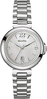 Bulova - Diamond Reloj de Cuarzo para Mujer con Madre de Pearl Esfera Analógica Pantalla y Plata Pulsera de Acero Inoxidable 96p149
