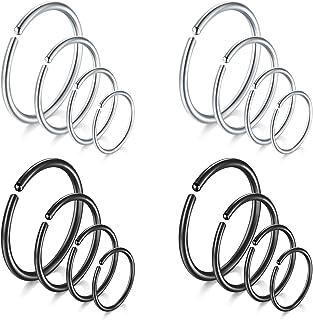 Rajnard Piercing Naso Hoop Anello 18G 1.0mm 6/8/10/12mm Piercing all'orecchio in Acciaio Inossidabile Tragus Helix Daith L...
