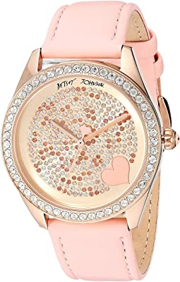 BJ00048-292 - Mixed Stone Accented Dial & Pink Strap Watch