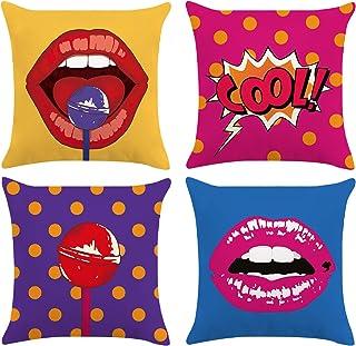 Bonhause Juego de 4 Funda de Cojín 45x45cm Pop Art Labios Polka Dots Terciopelo Suave Fundas de Almohada para Cojines Decorativos para Sofá Cama Coche Hogar