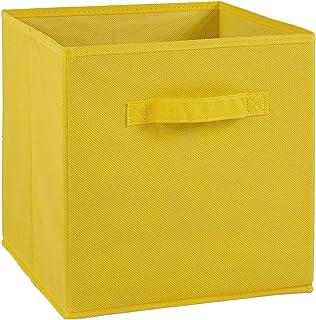 Compo Boîte de Rangement Tiroir avec Poignée en Tissu Jaune 27 x 27 x 28 cm