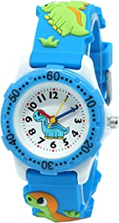 Fashionable-Shop School Toddlers Kids Time Teach 3D Cartoon Boys Girls Watch Japan Quartz Durable Silicone Christmas Birthday Gift 3-10 Years Old Water Resistant UN1739 (Dinosaur Blue)