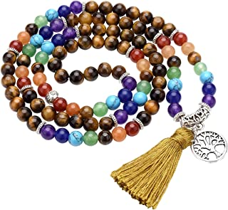 Jovivi Natural Amethyst Crystal Quartz Gemstones 7 Chakra Healing Crystals 108 Prayer Beads Mala Wrap Bracelet Necklace w/Tree of Life Tassel
