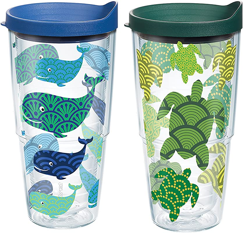 Tervis Turtle Whale Pattern Wrap Clear Inner 24oz Tumbler 2 Pack With No Lid 1224494
